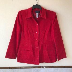 Sag Harbor Red Blazer Jacket Metallic Shimmer